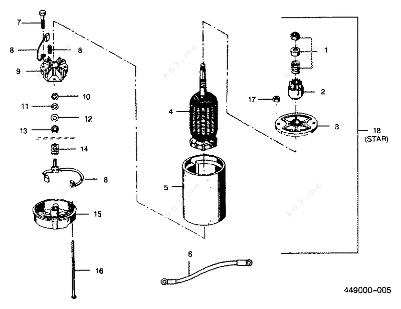 Mercury force 50 h p 1990 electric starter parts catalog for Force outboard motor parts diagram